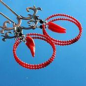 Украшения handmade. Livemaster - original item Spice - Hoop earrings coral red. Handmade.
