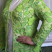 """Одежда ручной работы. Ярмарка Мастеров - ручная работа Кардиган вязаный """"Зеленая фантазия"""" - 2. Ирландское кружево. Handmade."""
