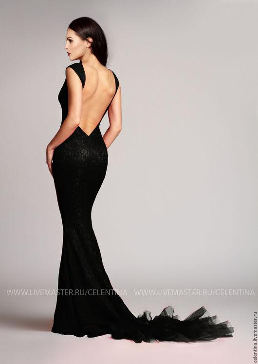 Длинное кружевное вечернее платье в пол `Рыбка`