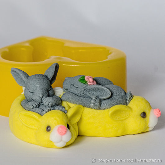 Silicone mold for soap 'Rabbits', Form, Shahty,  Фото №1
