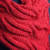 Аксессуары handmade. Livemaster - original item Knitted set Scarlet Flower, knitted hat, scarf, mittens.. Handmade.