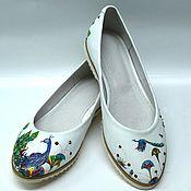 Обувь ручной работы. Ярмарка Мастеров - ручная работа Балетки из кожи с росписью. Handmade.