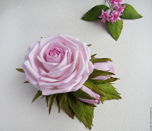 роза, украшения для волос из фоамирана, заколки с цветами мастер Любовь Амосова Оранжерея рукотворных цветов `Studio-laim`