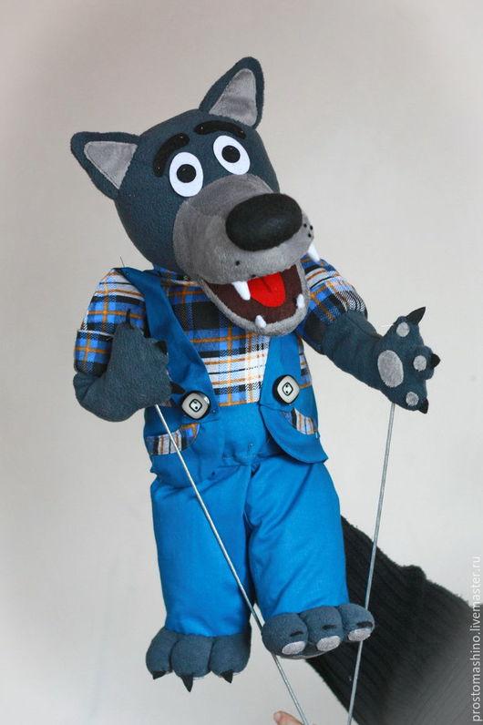 Кукольный театр ручной работы. Ярмарка Мастеров - ручная работа. Купить Дружелюбный волк. Handmade. Волк, тростевая кукла, puppets