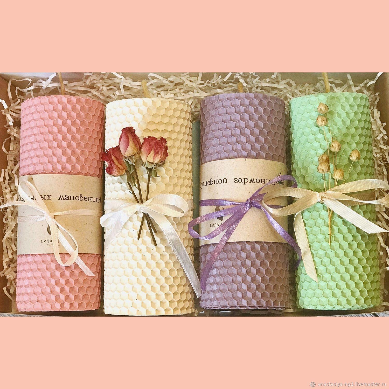 Подарочный набор свечей из вощины «Нежная пастель», Подарочные боксы, Москва,  Фото №1