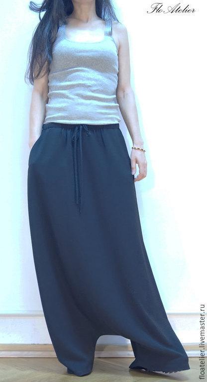 Брюки, шорты ручной работы. Ярмарка Мастеров - ручная работа. Купить Повседневные шаровары/Свободные брюки/F1138. Handmade. Черный, модная одежда