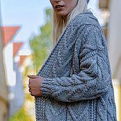 Одежда handmade. Livemaster - original item cardigans: Grey basic hand-knitted cardigan for stylish ladies. Handmade.