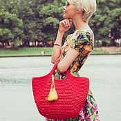 Сумки и аксессуары ручной работы. Ярмарка Мастеров - ручная работа Красная сумка - tote. Handmade.