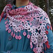 Аксессуары ручной работы. Ярмарка Мастеров - ручная работа Светло-розовая  шаль - платок с кистями. Handmade.