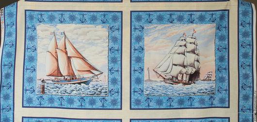"""Шитье ручной работы. Ярмарка Мастеров - ручная работа. Купить Панель """"На всех парусах"""". Handmade. Ткани, американские ткани"""