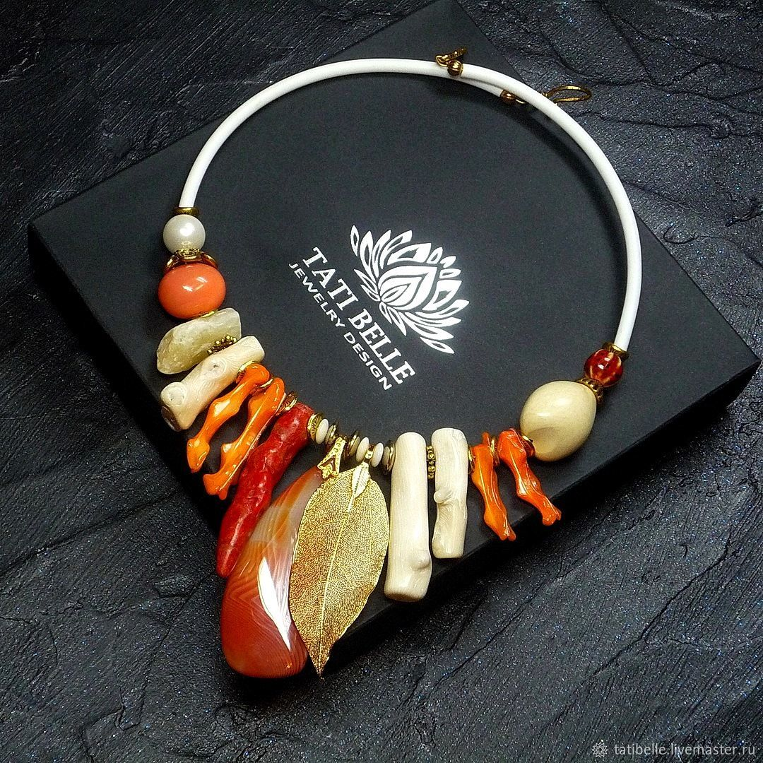Necklace made of natural stones 'Orange Mood', Necklace, Moscow,  Фото №1