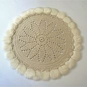 Для дома и интерьера handmade. Livemaster - original item Mat Christmas knitted with fur Flower shaman. Handmade.