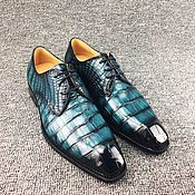 Обувь ручной работы handmade. Livemaster - original item Crocodile skin Derby, rare sea color!. Handmade.
