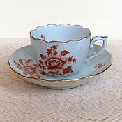 Винтаж handmade. Livemaster - original item Coffee couple Red poppy Herend Hungary 1959references. Handmade.