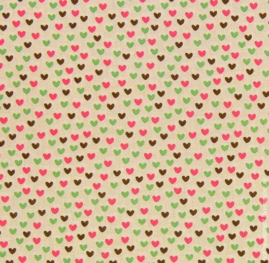Шитье ручной работы. Ярмарка Мастеров - ручная работа. Купить Немецкий хлопок сердечки. Handmade. Бежевый, сердечки, ткань