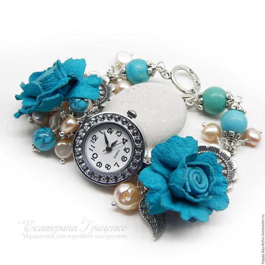 часы, часы женские, женские часы, часы браслет, браслет часы, часы наручные, наручные часы, часы женские наручные, браслет с бирюзой, украшение с жемчугом, браслет с жемчугом, часы на руку, браслет