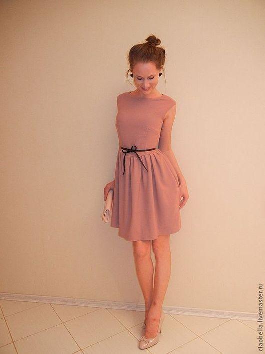 """Платья ручной работы. Ярмарка Мастеров - ручная работа. Купить Платье """"Одри"""". Handmade. Бледно-розовый, платье с поясом"""