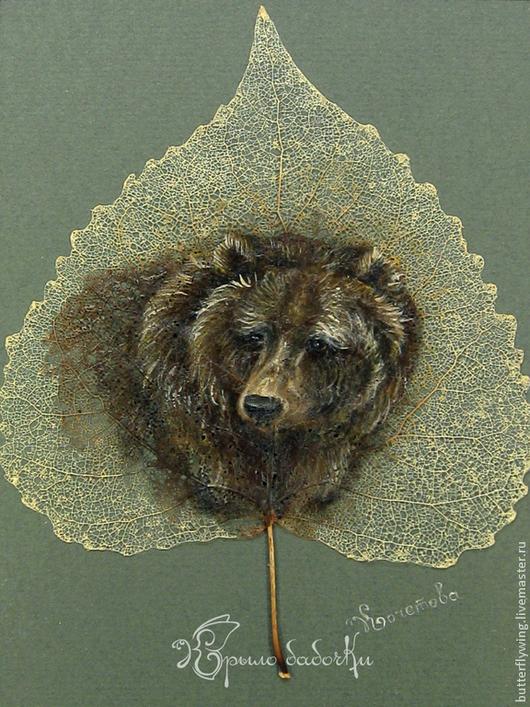 """Животные ручной работы. Ярмарка Мастеров - ручная работа. Купить """"Хозяин леса"""" картина на скелетированном листе. Handmade. Тёмно-зелёный"""