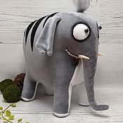 Куклы и игрушки handmade. Livemaster - original item Soft toy plush grey elephant cartoon rare striped. Handmade.