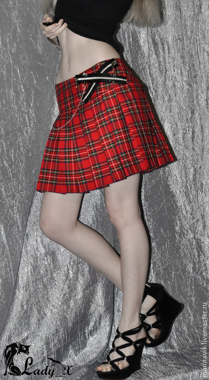 """Готика ручной работы. Ярмарка Мастеров - ручная работа. Купить Юбка """"Студентка Нэнси"""". Handmade. Ярко-красный, юбка в складку"""