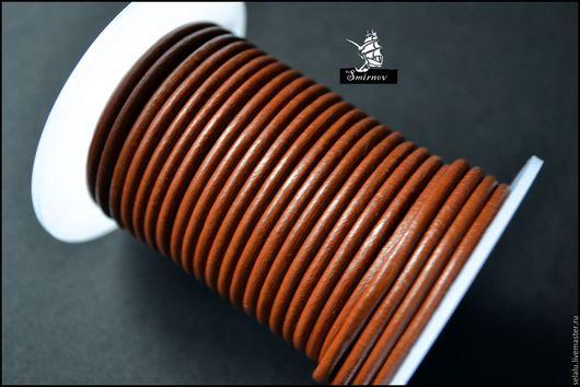 Для украшений ручной работы. Ярмарка Мастеров - ручная работа. Купить Натуральный кожаный коричневый шнур 3 мм.. Handmade.
