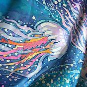 """Аксессуары ручной работы. Ярмарка Мастеров - ручная работа Батик платок """"Медуза"""". Handmade."""