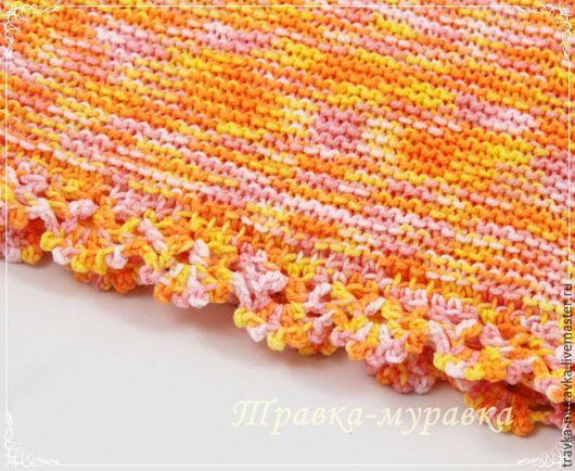 Пледы и одеяла ручной работы. Ярмарка Мастеров - ручная работа. Купить Плед детский вязаный, оранжевый, желтый, розовый, белый. Handmade.