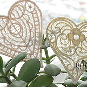 Материалы для творчества handmade. Livemaster - original item embroidery, lace, applique heart patch. Handmade.