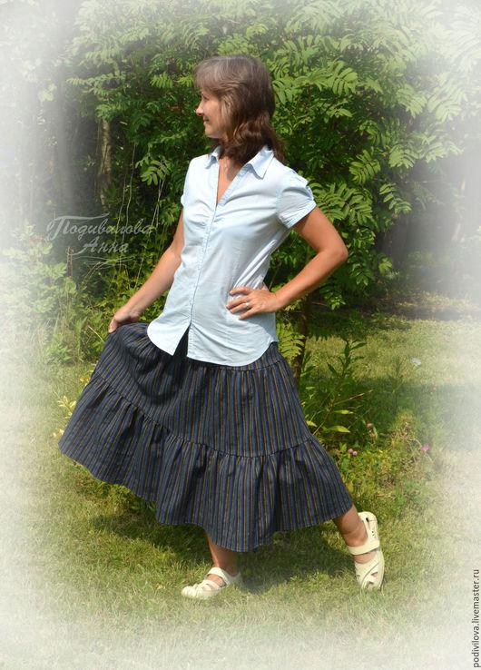 Юбка миди ярусная ,джинсовая , школьная одежда , бохо стиль . Юбка для девочки , девушки, женщины .