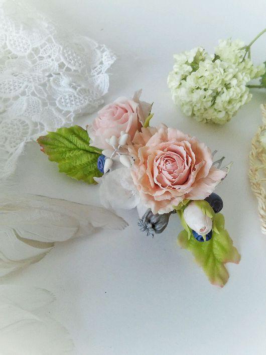 Свадебные украшения ручной работы. Ярмарка Мастеров - ручная работа. Купить Гребень с цветами ручной работы. Розы из холодного фарфора.. Handmade.