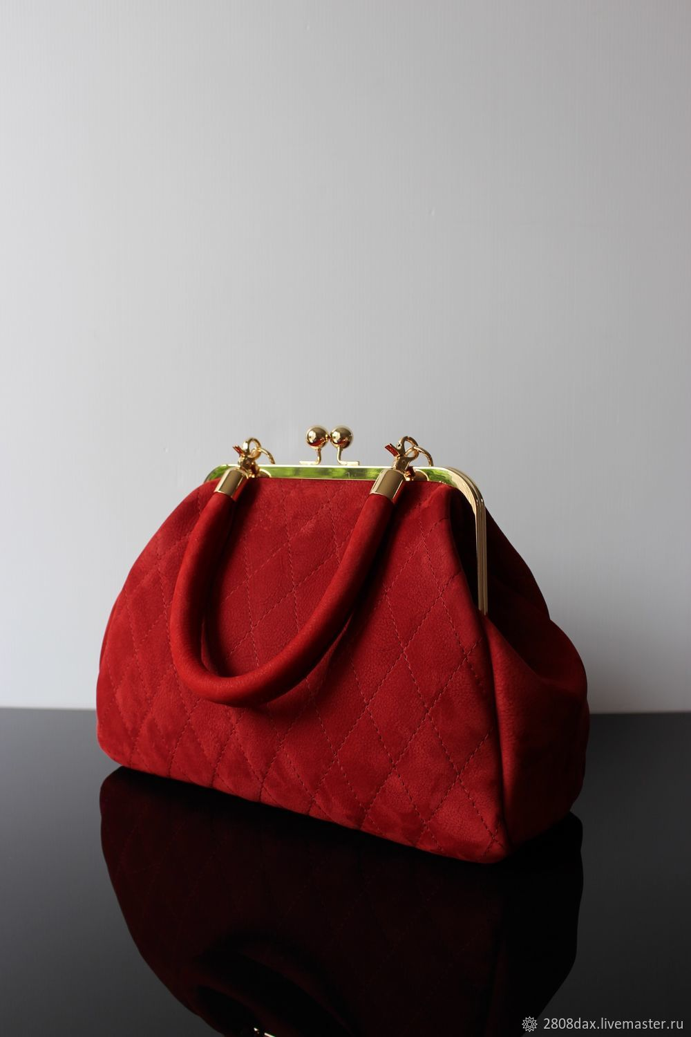 Dark Red Suede Handbag Quilted Olga Sluxurycreation