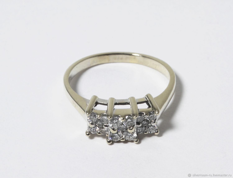 Винтаж: Кольцо из белого золота 585 пробы с бриллиантами, Предметы интерьера винтажные, Москва,  Фото №1