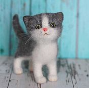 Куклы и игрушки handmade. Livemaster - original item Grey kitten Busko. toy from felt. Handmade.