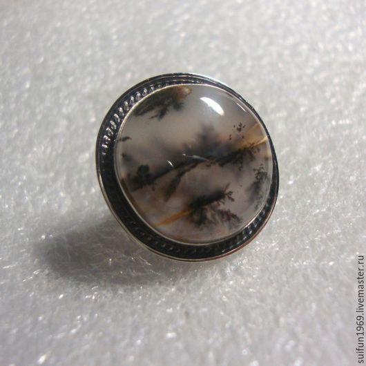 Кольца ручной работы. Ярмарка Мастеров - ручная работа. Купить Кольцо с дендроагатом 14.. Handmade. Кольцо с дендроагатом, самоцветы, мельхиор