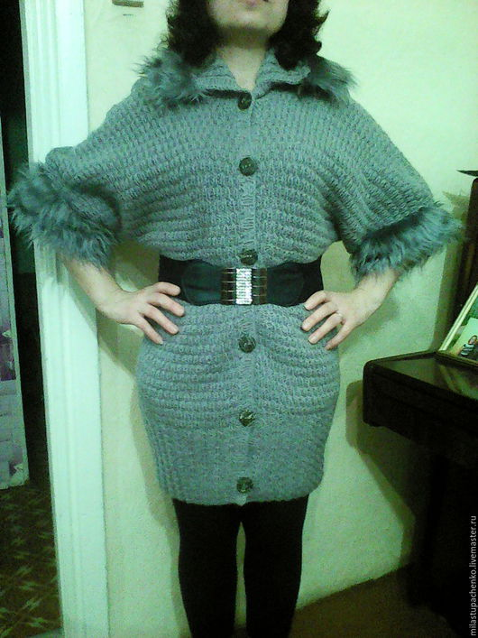 Верхняя одежда ручной работы. Ярмарка Мастеров - ручная работа. Купить Пальто- кардиган. Handmade. Серебряный, вязаное пальто