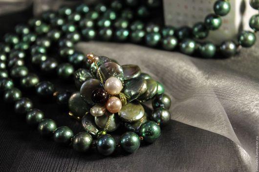 """Колье, бусы ручной работы. Ярмарка Мастеров - ручная работа. Купить Комплект ожерелье с серьгами """"Зеленый"""". Handmade. Зеленый"""