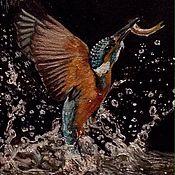 """Картины ручной работы. Ярмарка Мастеров - ручная работа Картина """"Зимородок, вылетающий и воды"""", масло. Handmade."""