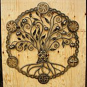 Круглое настенное панно из металла Древо со славянской символикой