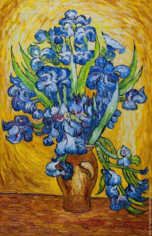 """Пейзаж ручной работы. Ярмарка Мастеров - ручная работа. Купить Копия картины Ван Гога """"Натюрморт с ирисами"""", 1889. Handmade."""