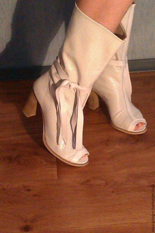 Обувь ручной работы. Ярмарка Мастеров - ручная работа. Купить Летние полусапожки. Handmade. Белый, авторская работа, полусапожки