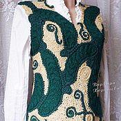 """Одежда ручной работы. Ярмарка Мастеров - ручная работа Теплый вязаный жилет """"Зелень на песке"""". Handmade."""
