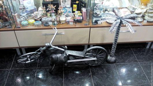Элементы интерьера ручной работы. Ярмарка Мастеров - ручная работа. Купить мотоцикл custom bike чёпер байк кованая скульптура. Handmade.