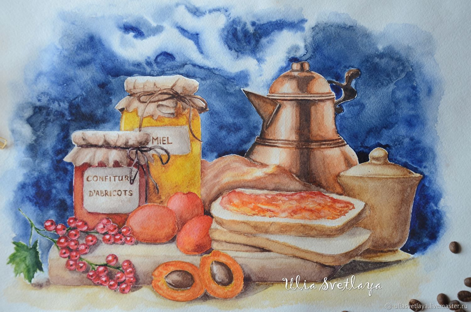 Still life in watercolor with apricots, Pictures, Zaporozhye,  Фото №1