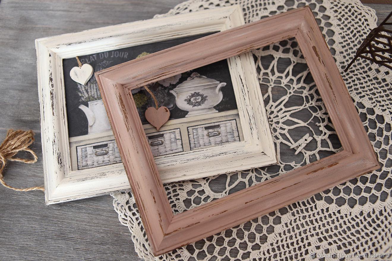 Photo frames Shabby-vintage.Dusty rose, smoky blue,milky white, Photo frames, Moscow,  Фото №1