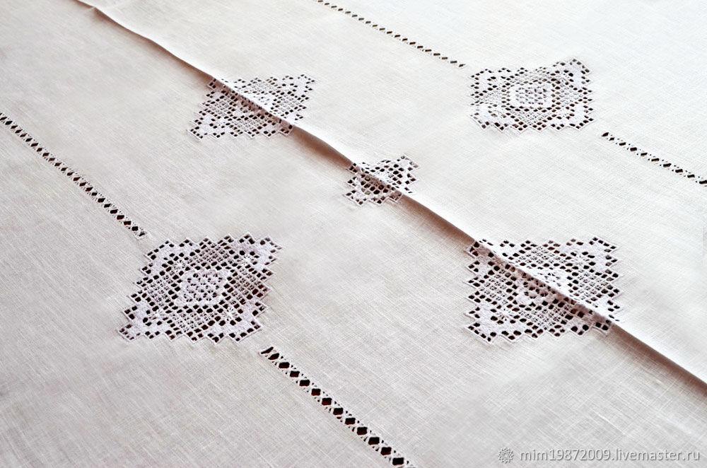 White linen festive tablecloth openwork embroidery stitch, Tablecloths, Krasnodar,  Фото №1