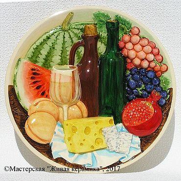 Дизайн и реклама ручной работы. Ярмарка Мастеров - ручная работа Керамический декор ВИНО - тарелка декоративная настенная. Handmade.