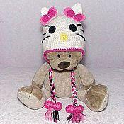 """Работы для детей, ручной работы. Ярмарка Мастеров - ручная работа Шапочка """"Китти""""  на весну (шапка вязаная с ушками Hello Kitti розовый). Handmade."""