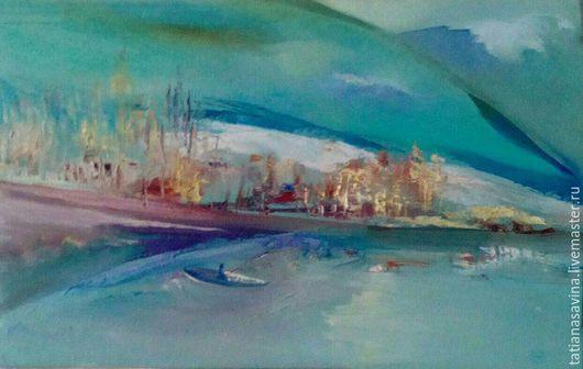 Пейзаж ручной работы. Ярмарка Мастеров - ручная работа. Купить Пейзаж с лодкой. Handmade. Бирюзовый, картина маслом
