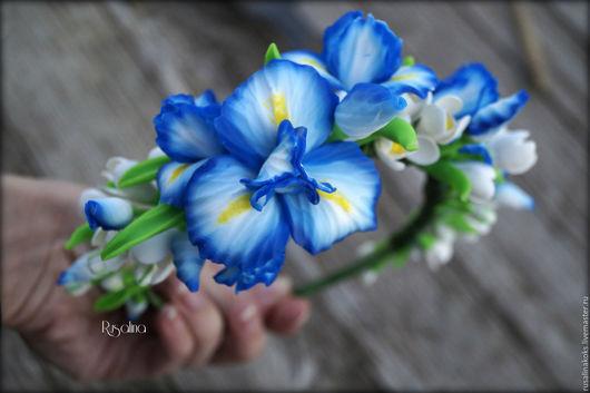 """Диадемы, обручи ручной работы. Ярмарка Мастеров - ручная работа. Купить Обруч """"Пробуждение весны"""". Handmade. Голубой, полимерная глина"""