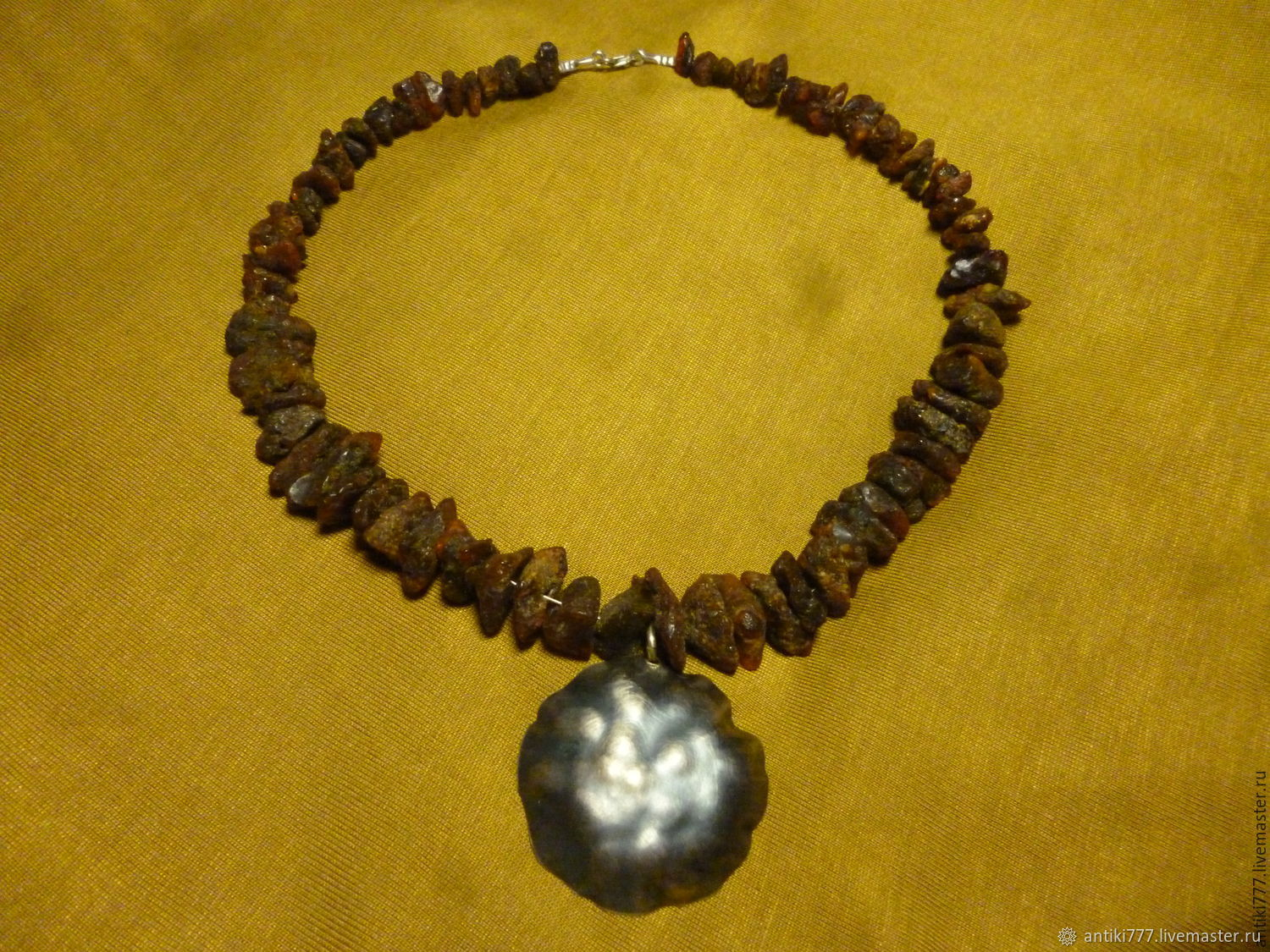 Necklace amber and silver hammer, Vintage necklace, Moscow,  Фото №1